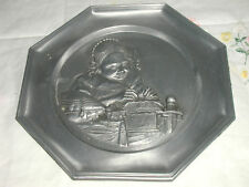 WOMAN SEWING PEWTER PLATE ANGEL IN OVAL MARKING