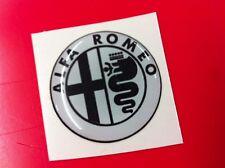 1 Adesivo Resinato Sticker 3D Alfa Romeo 40 mm white & black