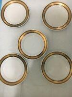"""Vintage  porcelain plates set of 5 East Germany(GDR)  with gold edges 7,5"""""""