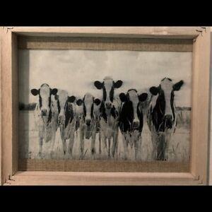 Farmhouse Framed Cow Picture On Canvas/Vinyl Rustic Wall Decor Art  8x10