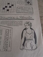 """ANCIEN PATRON POUR LA POUPEE """" BLEUETTE """" PANTALON SHORT JANVIER 1947"""