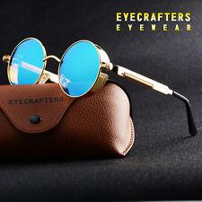 VINTAGE Polarizados SteamPunk Gafas De Sol Retro Moderno Redondo Reflectante