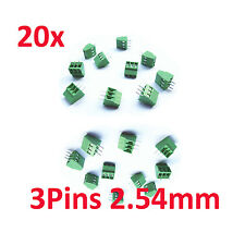 "20Pc 3 Pins 2.54mm 0.1"" Wire Screw Terminal Block 3 holes Connector Mount"