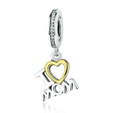 1Pc I Love Mom Silver Cz European Charm Beads Fit Necklace Bracelet Making Gifts