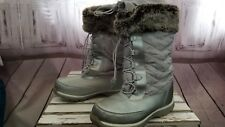 Lands end winter snow boots warm silver faux fur 7m 7 resistent women lace