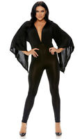 Angel Sleeve Jumpsuit Catsuit Plunging Neckline Flared Wide Black Red 886815
