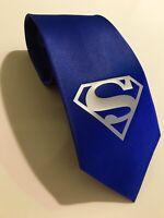 Superman Necktie, Silver Logo, New