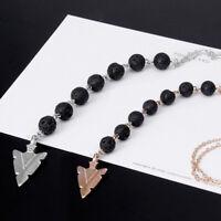 Arrow  7 Chakra Lava Rock Stone Necklace Women's Essential Oil Diffuser Jewelry