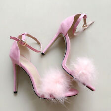 Womens Fluffy Fur Sandals Stiletto High Heels Ankle Strap Work Party Shoes Size