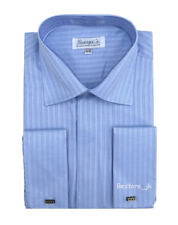 Men's French Cuff Jacquard Stripe Classic Dress Shirt #30 Light Blue