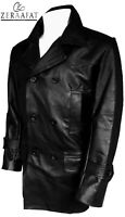Men's Genuine Cowhide Leather Double Breasted Style Blazer Trench/Pea Coat