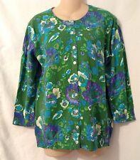 Isaac Mizrahi Live Green Floral Print Cardigan Sweater Size Medium New