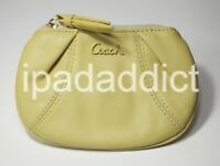 Coach Madison Yellow Leather Mini Skinny Key Ring Chain ID Card Wallet Pouch New