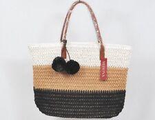 afc664b15e25 Merona Black White Tan Womens Festive Tote Purse 18x12 Straw-like Paper