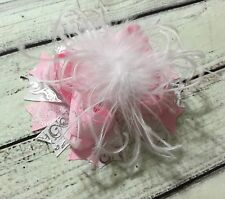 Handmade Pink And White Over The Top Ostrich Feather Boutique Hair Bow