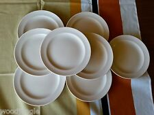 8 Vintage RARE POOLE POTTERY ENGLAND MUSHROOM & SEPIA C54 TWINTONE BREAD  PLATES