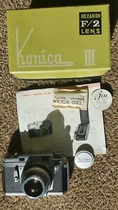 Konica III Hexanon 48mm F:2 MXL Rangefinder 1957 Camera  Boxed  condition 9+++++
