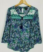 Lucky Brand Women's Medium Blue Green Tassel Tie Long Sleeve Boho Knit Shirt