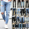Men Skinny Stretch Jeans Distressed Ripped Destroyed Biker Denim Pants Trousers
