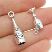 30 pcs Antiqued Silver Alloy Wine Bottle and Goblet Craft Charms Pendants Mixed