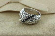 Judith Ripka Sterling Silver Ribbed Feather Design Black Spinel Stone Ring - 8