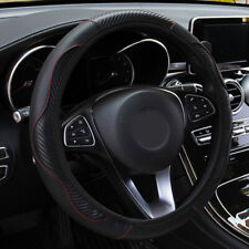 1x Car Steering Wheel Cover Protector Carbon Fiber Leather Anti-Slip For 37-38CM