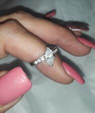 + Accents Bridal Engagement Ring #7.5 925 Sterling Marquis Solitaire Clear Stone