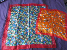 Silk Scarf Lot Holland Tulips Orange green Blue beige Floral Abstract  Excellent