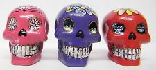 Day Of The Dead Skull Ornament Small Decorations Set Of 3 Purple Pink Red