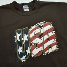 USA Mens Sweatshirt 3XL Big Tall Brown United States America Pullover Flag E40