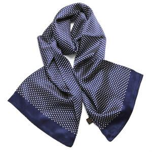 Men's 100% Mulberry Silk Scarf Double Layer Neckerchief Polka Dot Pattern