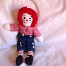 Raggedy Andy doll handmade 11inches  yarn hair gingham shirt and buttons