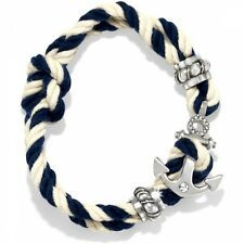 NWT Brighton Anchor Blue/Cream Nautical COASTAL Cord  Rope Bracelet MSRP $40