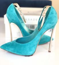 CASADEI BLADE METAL HEEL POINTED TOE TURQUOISE GREEN ANICE SUEDE PUMP SHOES 37