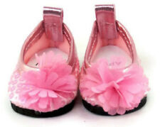 "Pink Sequin Flat Shoes w/Flower for 14.5"" American Girl Wellie Wishers Dolls"