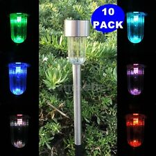 10-Pack Solar Powered Stainless Steel LED Pathway Lawn Light Lamp Sun Power 33SK