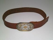 Vtg 1970's Hippie Leather Hand Tooled 2 tone metal Buckle size 28 Harper's Ferry