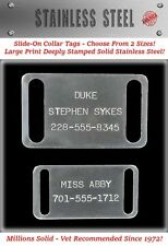 Large Stainless Steel Slide-On Collar Pet Dog Identification Name Tags-Custom Id
