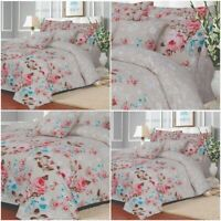 Luxury Lansfield Floral Printed Duvet Cover Set Single Double King Super Size