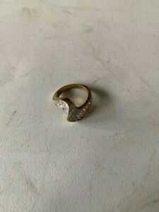 BEAUTIFUL VINTAGE 925 STERLING SILVER CZ WISHBONE RING SIZE O 1/2 5.70g
