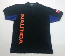 Vintage 90s Nautica Flag Spell Out Black Blue Big Logo Polo Shirt Adult Size M