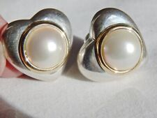 Tiffany & Co Sterling 18K Gold  Mabe Pearl Clip On Heart Earrings