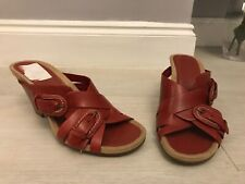 Clarks Red Leather Cuban Heel Mules Sandals Size 5