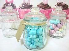 48x 300ml Mini  Small Glass Jars RIBBED Wedding Favours Bomboniere Lolly Jar