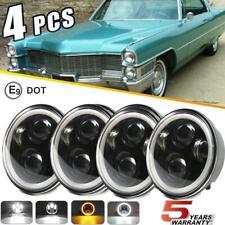 DOT 5.75 5-3/4 Round LED Headlights 4PC Halo Black For Cadillac Calais 1965-1974