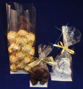 Clear Cellophane  Bags with Block Bottom- CARDBOARD BASE Food , Gifts, Wedding