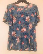 My Amelia James Layered Sleeve Floral Print Top | Blue ~ Sz M ~ NWT