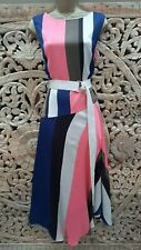 Karen Millen 14 UK Asymmetric Multi Colour Striped Maxi Dress Party Summer
