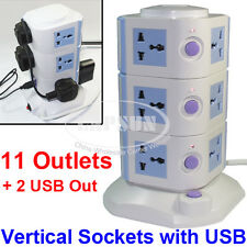 11 Ways Power Strip Multi Switched Vertical Socket Outlet + 2 USB Charger Port A