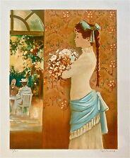 Bernard PELTRIAUX Lithographie originale signée Paris personnage féminin  p 507